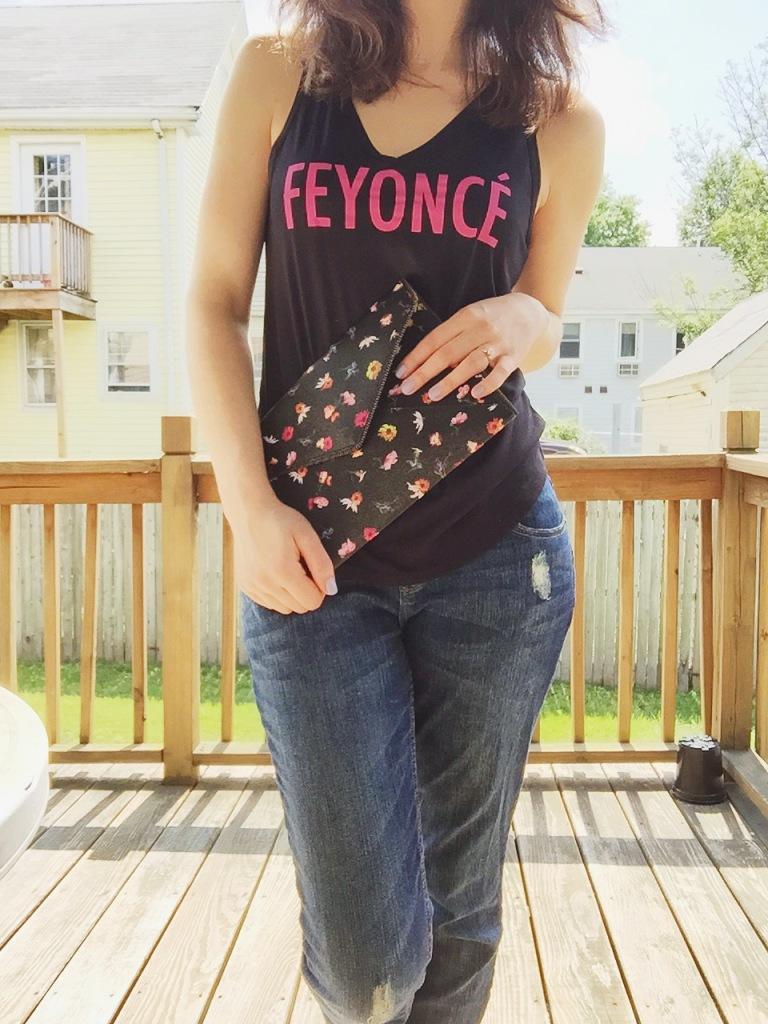 Fiancé shirt, boyfriend jeans.